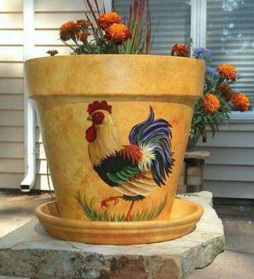 Chậu vẽ heartmade hình con gà