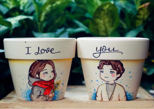 Chậu vẽ heartmade ''I love you''