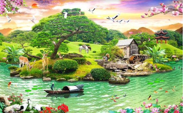 quà tặng tranh giấy heartmade - tranh phong cảnh