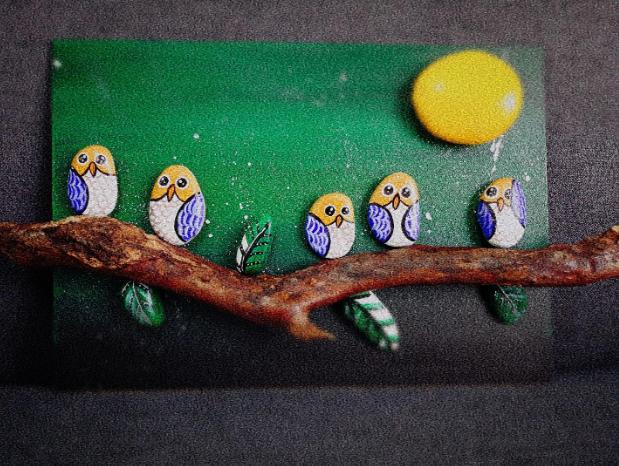 Tranh sỏi - những chú chim trêm cành cây